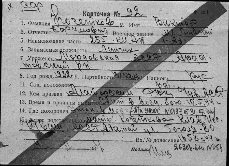 Личная карточка Кочеткова В.Е.