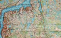 Современная карта с районом вероятного места боя и гибели Филиппова С.Д., на карте выделена высота 312 (гора Вычымуайвенч).