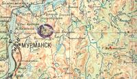 Фрагмент полетной карты штурмана 46-го ШАП ВВС СФ 1941-го года с районом вероятного места боя и гибели Филиппова С.Д., на карте выделена высота 310 - гора Вычимвайвенч (кружочком обозначен район аэродрома Ваенга-2).